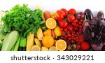 fresh fruits and vegetables... | Shutterstock . vector #343029221