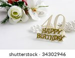 40th  birthday sign with pearls ... | Shutterstock . vector #34302946