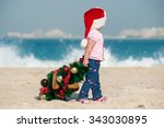 little girl draws a christmas... | Shutterstock . vector #343030895