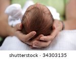 newborn baby in the comfort and ... | Shutterstock . vector #34303135