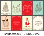christmas vector vintage cards... | Shutterstock .eps vector #343033199