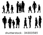 drawing of parents with young... | Shutterstock . vector #34303585