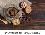 different cookies and cup of... | Shutterstock . vector #343043069