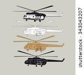 helicopter set | Shutterstock .eps vector #343043207
