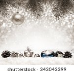 silver  christmas background... | Shutterstock . vector #343043399