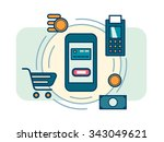 contactless mobile payment.... | Shutterstock .eps vector #343049621