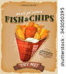 grunge vintage fish and chips... | Shutterstock .eps vector #343050395