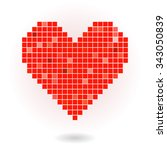 red pixel heart | Shutterstock .eps vector #343050839