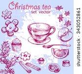 hand drawn christmas tea set.... | Shutterstock .eps vector #343052861