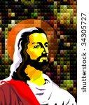 digital painting of jesus... | Shutterstock . vector #34305727