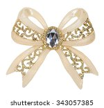 brooch in the shape of a bow... | Shutterstock . vector #343057385
