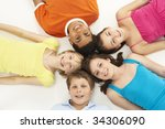 overhead view of five young... | Shutterstock . vector #34306090