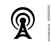 black antenna icon isolated on... | Shutterstock . vector #343063541