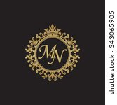 mn initial luxury ornament... | Shutterstock .eps vector #343065905