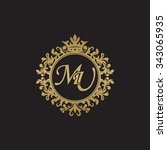 mu initial luxury ornament... | Shutterstock .eps vector #343065935