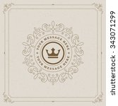 Luxury Logo template flourishes calligraphic elegant ornament lines. Business sign, identity for Restaurant, Royalty, Boutique, Cafe, Hotel, Heraldic, Jewelry, Fashion and other vector illustration | Shutterstock vector #343071299