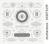 vintage vector ornaments... | Shutterstock .eps vector #343073159