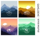 set of mountain landscapes in... | Shutterstock .eps vector #343073495