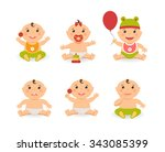 vector funny cute baby boy and... | Shutterstock .eps vector #343085399