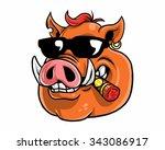 wild boar hog pig head... | Shutterstock .eps vector #343086917
