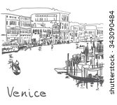 streets in venice  italy  with... | Shutterstock .eps vector #343090484