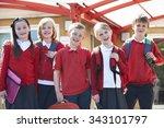 portrait of schoolchildren... | Shutterstock . vector #343101797