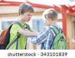 two boys fighting in school...   Shutterstock . vector #343101839