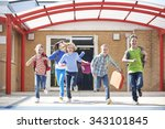 schoolchildren running into...   Shutterstock . vector #343101845