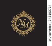nm initial luxury ornament... | Shutterstock .eps vector #343103714