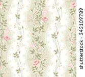 seamless pattern with floral... | Shutterstock .eps vector #343109789