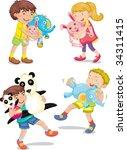 mixed kids    vector eps of... | Shutterstock . vector #34311415