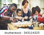 family cooking kitchen food... | Shutterstock . vector #343114325
