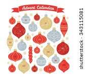 christmas advent calendar with... | Shutterstock .eps vector #343115081