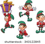 christmas elf in different...