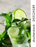 mojito cocktail on wooden table ...   Shutterstock . vector #343124189