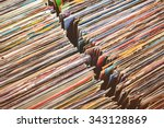 retro styled image of boxes...   Shutterstock . vector #343128869