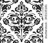 damask seamless black and white ... | Shutterstock .eps vector #343135181
