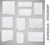 collection of white torn paper. ... | Shutterstock .eps vector #343136669
