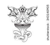 cobra snake bared teeth... | Shutterstock .eps vector #343140905