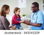 cute child and doctor talking... | Shutterstock . vector #343141529