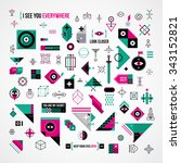 big collection of abstract... | Shutterstock .eps vector #343152821
