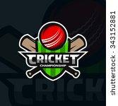 cricket sports label  badge ... | Shutterstock .eps vector #343152881