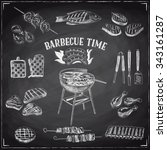 vector set of barbecue and... | Shutterstock .eps vector #343161287