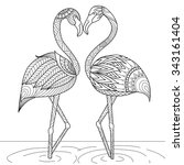 hand drawn flamingo couple... | Shutterstock .eps vector #343161404