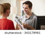 engineer giving advice on...   Shutterstock . vector #343178981