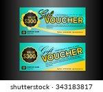 blue gift voucher template ... | Shutterstock .eps vector #343183817