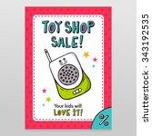 toy shop bright vector sale... | Shutterstock .eps vector #343192535