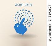 flat long shadow hand touch... | Shutterstock .eps vector #343193627