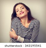 happy young casual woman... | Shutterstock . vector #343195541