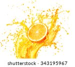 orange juice splashing with its ... | Shutterstock . vector #343195967